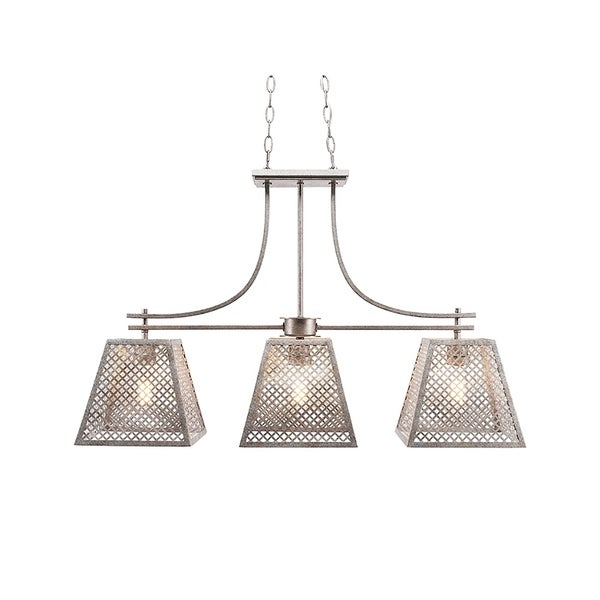 Aged Silver 3-light Island Island Fixture with Espresso Metal Shades