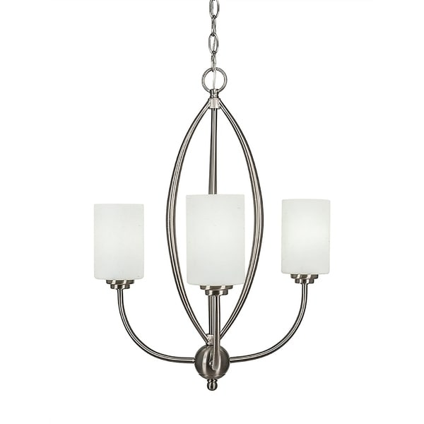 """3-Light Chandelier Brushed Nickel Finish With 4"""" White Muslin Glass"""