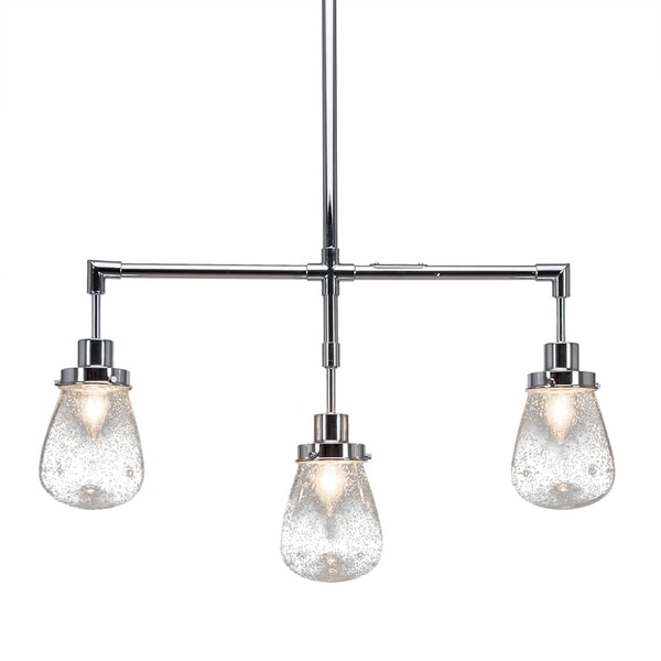 """3-Light Island Light Chrome Finish With 5"""" Clear Bubble Glass"""