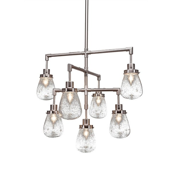 "7-Light Chandelier Brushed Nickel Finish With 5"" Clear Bubble Glass"