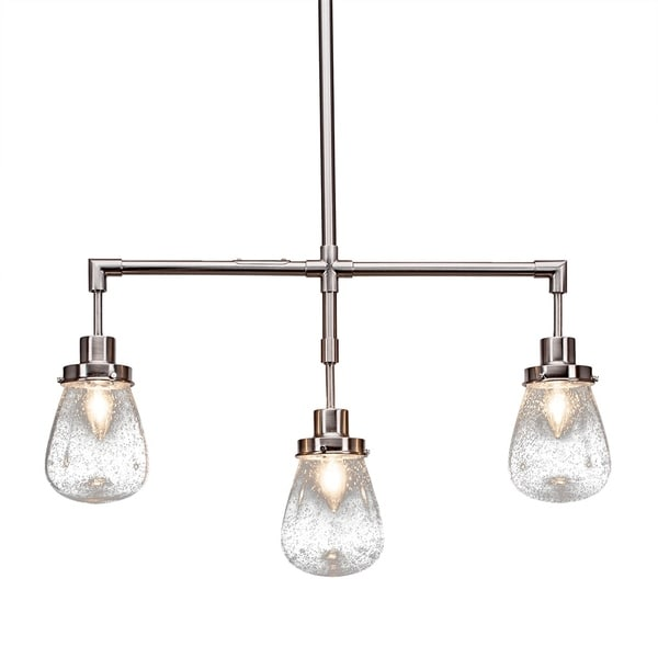 """3-Light Island Light Brushed Nickel Finish With 5"""" Clear Bubble Glass"""
