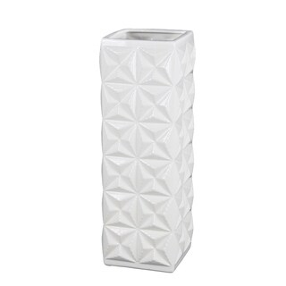 Privilege 45215 White Small Ceramic Vase, 5.5x5.5x13