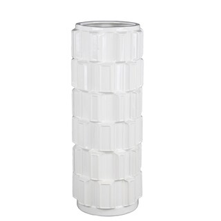 Privilege 45224 White Large Ceramic Vase , 7x7x17.5