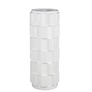 Privilege 45224 White Large Ceramic Vase , 7x7x17.5