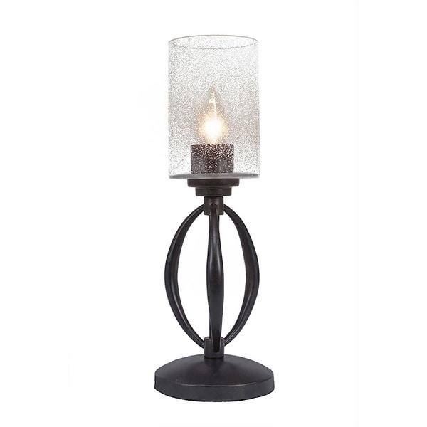 "1-Light Mini Table Lamp Shown In Dark Granite Finish With 4"" Clear Bubble Glass"