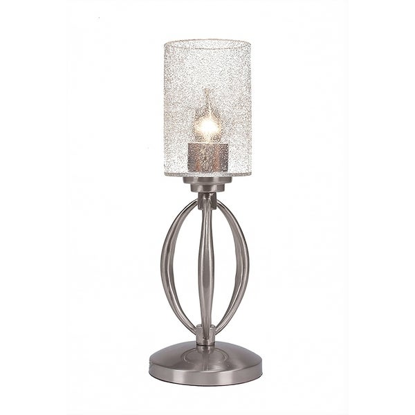 """1-Light Mini Table Lamp Shown In Brushed Nickel Finish With 4"""" Clear Bubble Glass"""