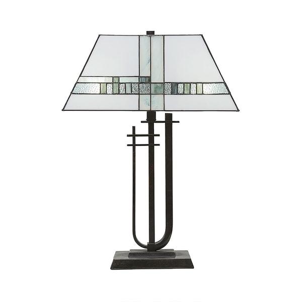 Table Lamp Shown In Dark Granite Finish With New Deco Tiffany Glass