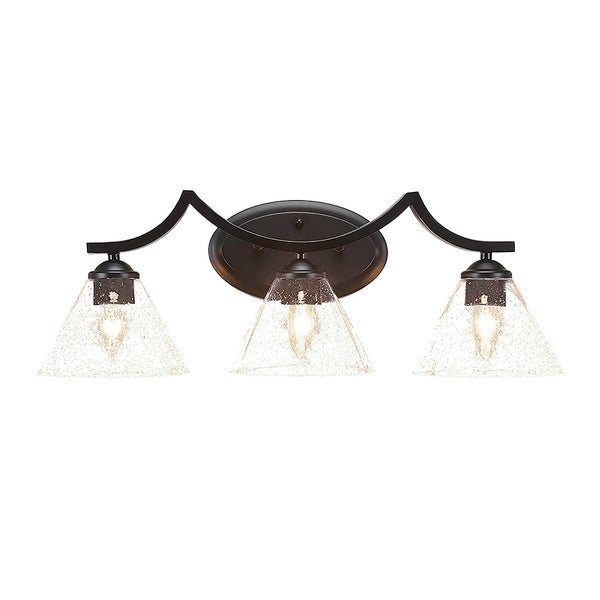 "Black Finish Bathroom Lighting: Shop 3-Light Bath Vanity Matte Black Finish With 7"" Clear"