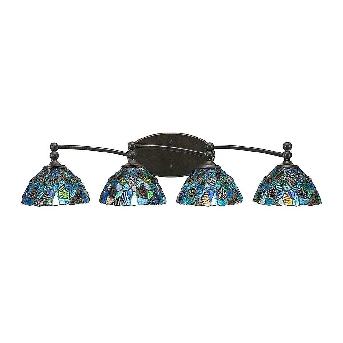 4 Light Bath Vanity Dark Granite Finish With 7 Blue Mosaic Tiffany Glass Overstock 20291142