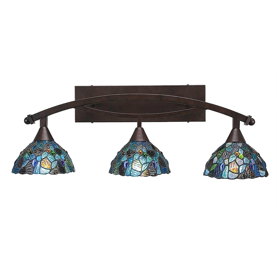3 Light Bath Vanity Bronze Finish With 7 Blue Mosaic Tiffany Glass Overstock 20291420