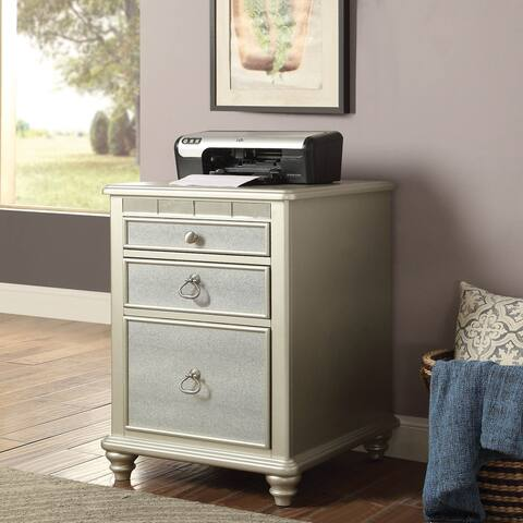 Furniture of America Cord Glam Silver Solid Wood 3-drawer File Cabinet