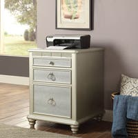 Furniture of America Jacob Transitional Glam Silver 3-drawer File Cabinet