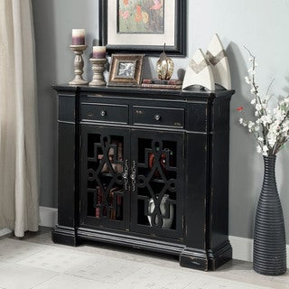 Furniture of America Way Vintage Black 2-drawer Accent Cabinet