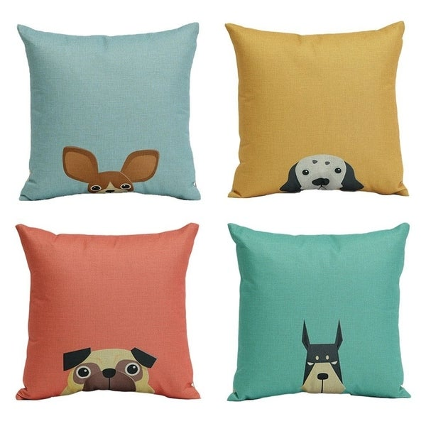 Cartoon Dog Square Pillow Case Decorative Cushion Case for Sofa,Bed