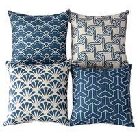Blue Beige Vintage Cotton Square Pillow Case Decorative Cushion Cover