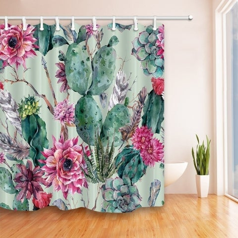 Green Plants Cactus Flower 69X70 inches Mildew Resistant Curtain