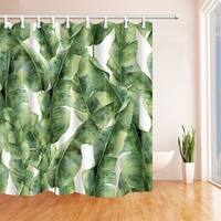 Tropic Plant Watercolor Banana Palm Leaves Bath Curtain, Green White