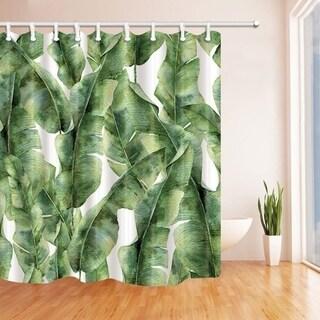 Tropic Plant Watercolor Banana Palm Leaves Bath Curtain, Green White