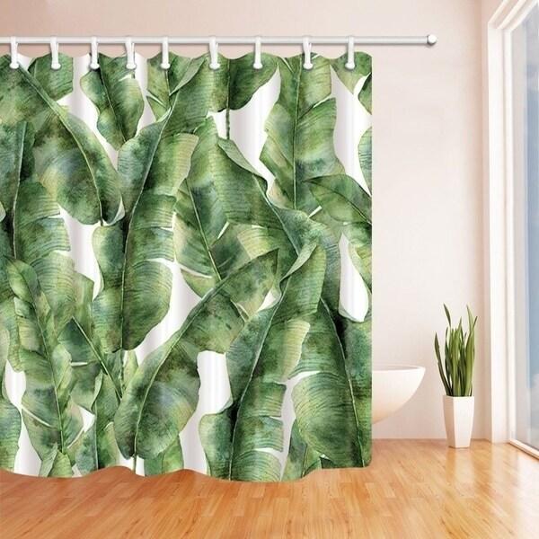 Tropic Plant Watercolor Banana Palm Leaves Bath Curtain Green White