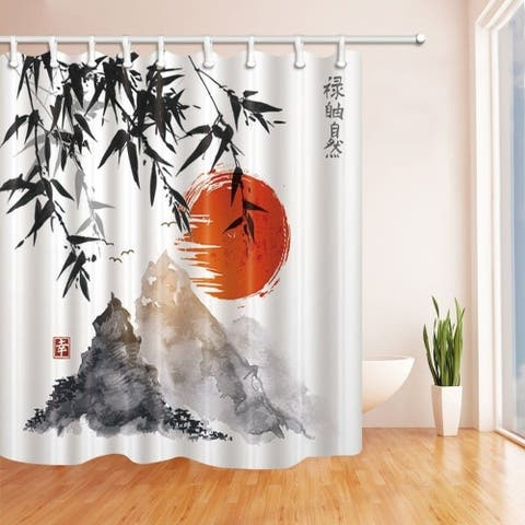 Japanese Bamboo Trees Sun and Mountains Bath Curtain