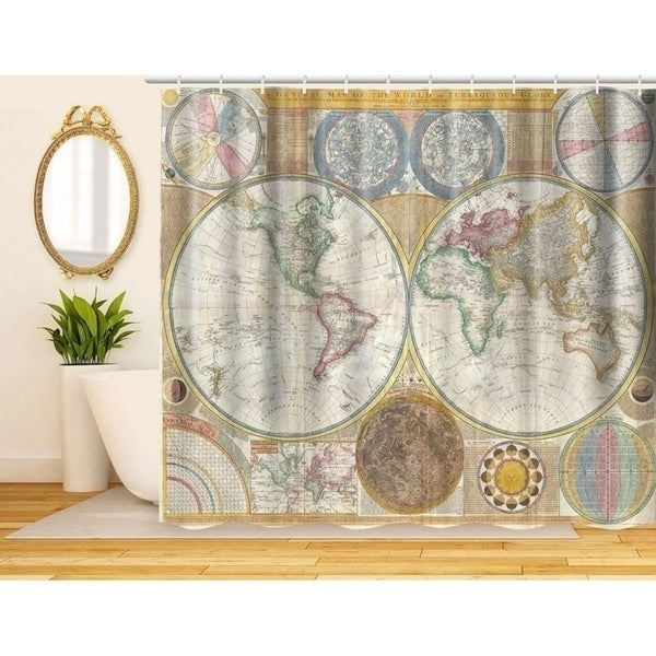 Shop Decorative Fabric Shower Curtain, Vintage World Map - Free ...