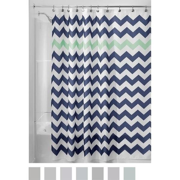 Chevron Soft Fabric Shower Curtain 72 X Navy Mint