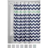 "Chevron Soft Fabric Shower Curtain, 72"" x 72"", Navy/Mint"