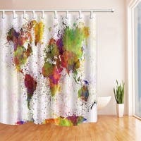Urban Color World Map 69X70in Mildew Resistant Polyester
