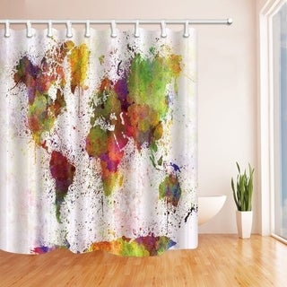 Urban Color World Map 69X70in Mildew Resistant Polyester - N/A