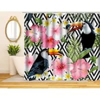 Colorful Fabric Shower Curtain, Tropical Birds Theme