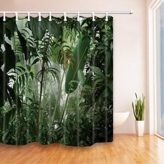 Tropical Plants Decor Jungle Green Banana Leaves Shower Curtain   N/A