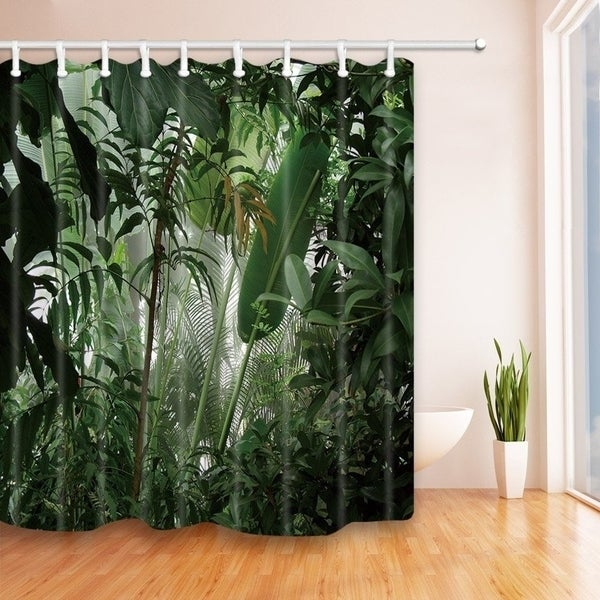 Shop Tropical Plants Decor Jungle Green Banana Leaves Shower Curtain ...