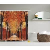 Nature Shower Curtain,Foliage Forest Theme