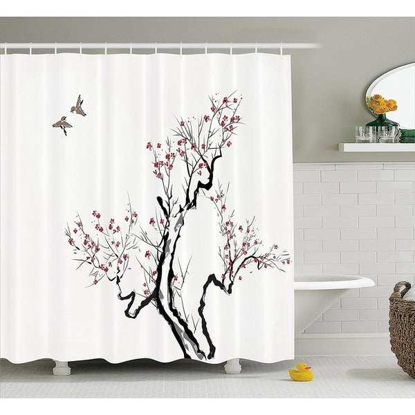 Japanese Shower Curtain, 69W X 70L Inches Long, Grey White - N/A ...