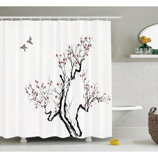 Japanese Shower Curtain, 69W X 70L Inches Long, Grey White - N/A