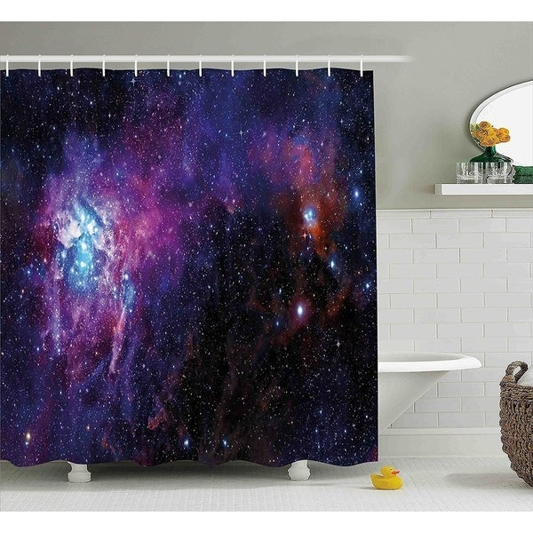 Galaxy Shower Curtain Set 70 Inches Black Purple Blue