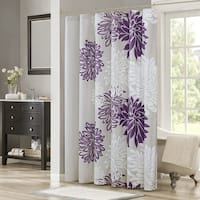 Shower Curtain - Purple, Grey - Floral Printed- 72x72 inches