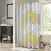 Shower Curtain - Yellow, Grey - Floral Printed- 72x72 inches