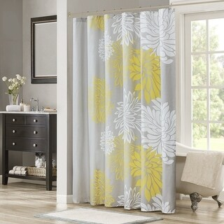 Shower Curtain - Yellow, Grey - Floral Printed- 72x72 inches - N/A