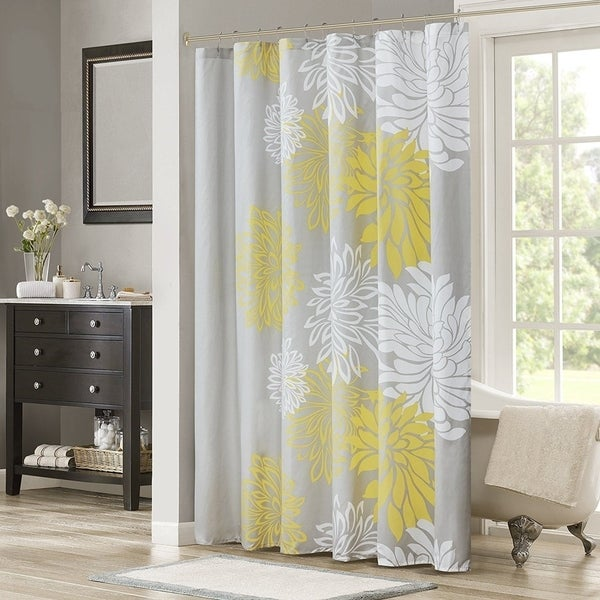 Shop Shower Curtain Yellow Grey Floral Printed 72x72