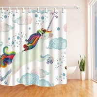 Watercolor Fairy Tale with Flying Unicorn for Kids Shower Curtain - N/A