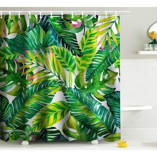 Green Banana leaf Shower Curtain, Fabric Shower Curtains with Hooks
