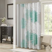 Shower Curtain - Aqua, Grey - Floral Printed- 72x72 inches