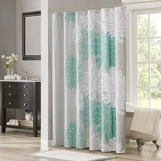 Shower Curtain - Aqua, Grey - Floral Printed- 72x72 inches - N/A