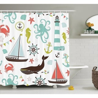 Fabric Shower Rope and Anchor Octopus Crab Marine Bathroom Coastal