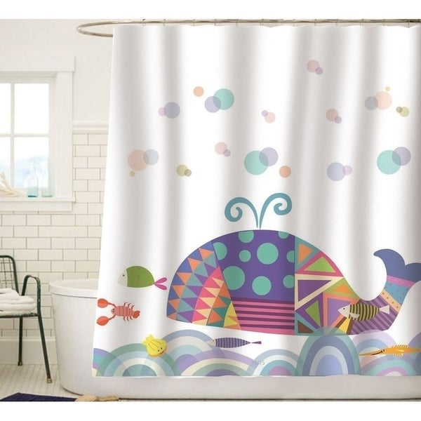 Shop Colorful Geometric Whale Waves Bubble Shower Curtain