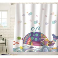 Colorful Geometric Whale Waves Bubble Shower Curtain