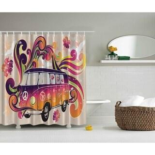 Bohemian Hippie Boho Shower Curtain, Beige Purple Orange Yellow - N/A