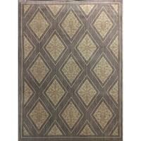 Diamond Pattern Gray and Cream Contemporary Area Rug - 8' x 10'