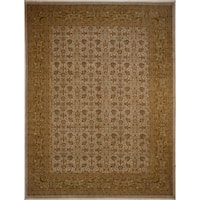 Noori Rug Ankara Harmony Green/Gold Wool Turkish Hand-knotted Area Rug - 9'2 x 12'2